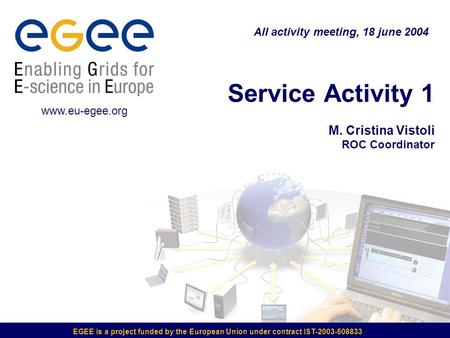 EGEE is a project funded by the European Union under contract IST-2003-508833 Service Activity 1 M. Cristina Vistoli ROC Coordinator All activity meeting,