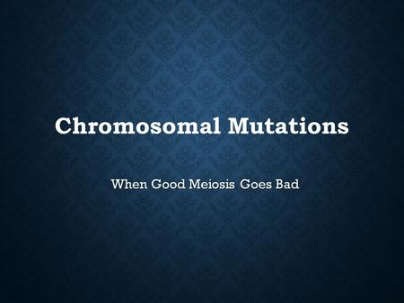 Chromosomal Mutations When Good Meiosis Goes Bad.