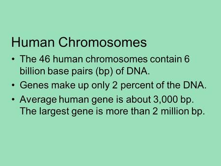 Human Chromosomes The 46 human chromosomes contain 6 billion base pairs (bp) of DNA. Genes make up only 2 percent of the DNA. Average human gene is about.