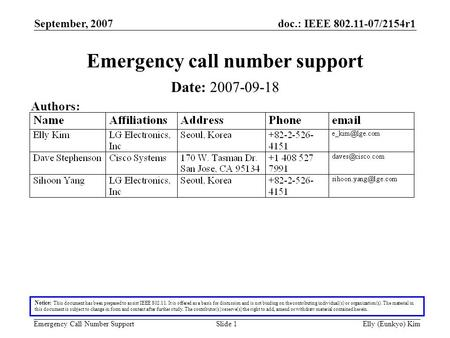 Doc.: IEEE 802.11-07/2154r1 Emergency Call Number Support September, 2007 Elly (Eunkyo) KimSlide 1 Emergency call number support Date: 2007-09-18 Authors: