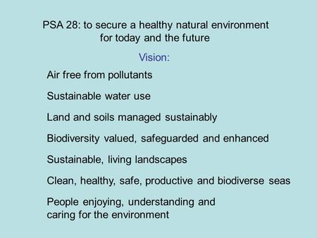PSA 28: to secure a healthy natural environment for today and the future Air free from pollutants Sustainable water use Land and soils managed sustainably.