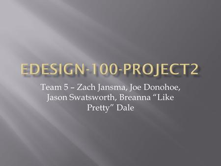 "Team 5 – Zach Jansma, Joe Donohoe, Jason Swatsworth, Breanna ""Like Pretty"" Dale."