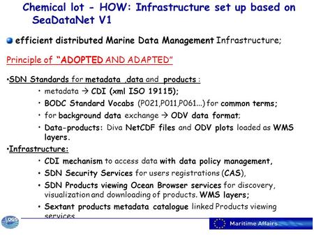 "Chemical lot - HOW: Infrastructure set up based on SeaDataNet V1 efficient distributed Marine Data Management Infrastructure; Principle of ""ADOPTED AND."
