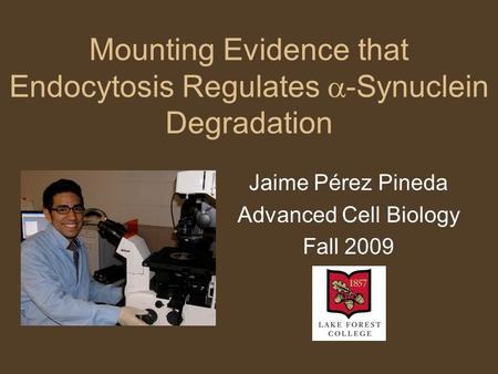 Mounting Evidence that Endocytosis Regulates  -Synuclein Degradation Jaime Pérez Pineda Advanced Cell Biology Fall 2009.