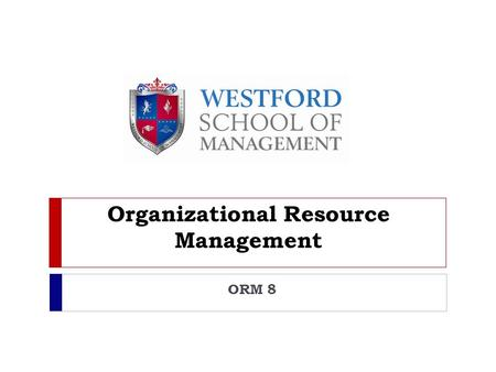 Organizational Resource Management ORM 8. Information Systems (IS)