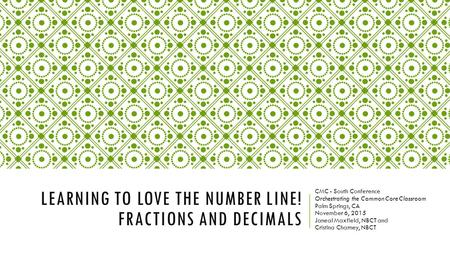 Learning to love the number line! Fractions and decimals