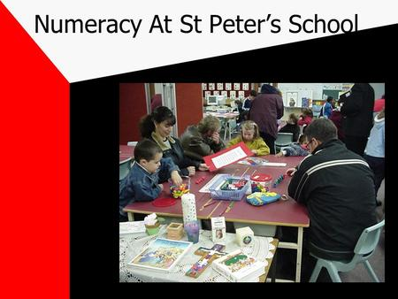 Numeracy At St Peter's School. Mathematics/Numeracy Mathematics is: The abstract and scientific underpinning of concepts and skills that involves mathematical.