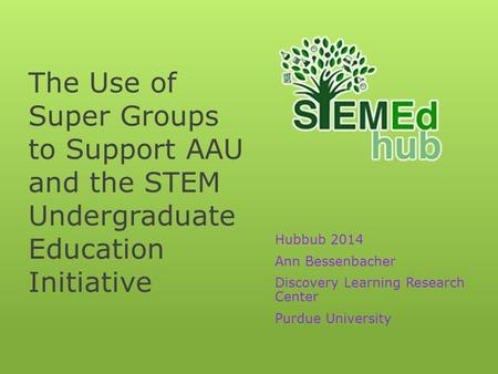 The Use of Super Groups to Support AAU and the STEM Undergraduate Education Initiative Hubbub 2014 Ann Bessenbacher Discovery Learning Research Center.