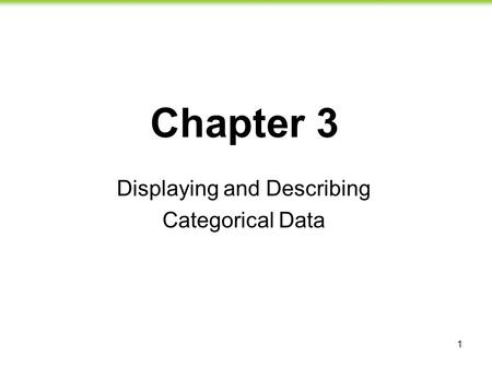 1 Chapter 3 Displaying and Describing Categorical Data.
