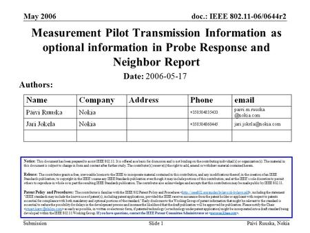 Doc.: IEEE 802.11-06/0644r2 Submission May 2006 Päivi Ruuska, NokiaSlide 1 Measurement Pilot Transmission Information as optional information in Probe.