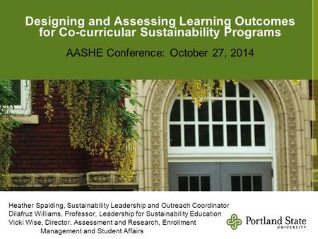 ViHeatHeatheh Designing and Assessing Learning Outcomes for Co-curricular Sustainability Programs AASHE Conference: October 27, 2014 Heather Spalding,