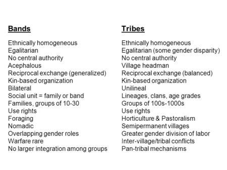 Bands Tribes Ethnically homogeneous Ethnically homogeneous