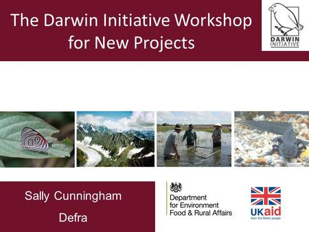 The Darwin Initiative Workshop for New Projects Sally Cunningham Defra Sally Cunningham Defra.