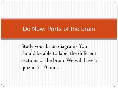 Study your brain diagrams. You should be able to label the different sections of the brain. We will have a quiz in 5-10 min. Do Now: Parts of the brain.