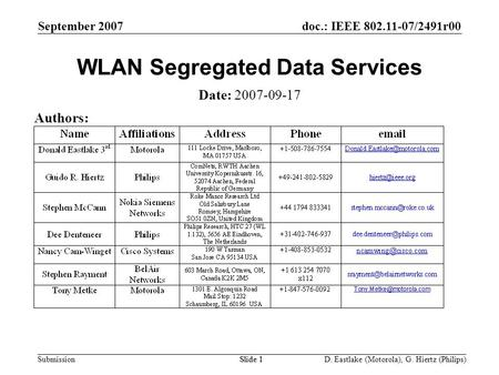 Doc.: IEEE 802.11-07/2491r00 Submission September 2007 D. Eastlake (Motorola), G. Hiertz (Philips)Slide 1 WLAN Segregated Data Services Date: 2007-09-17.