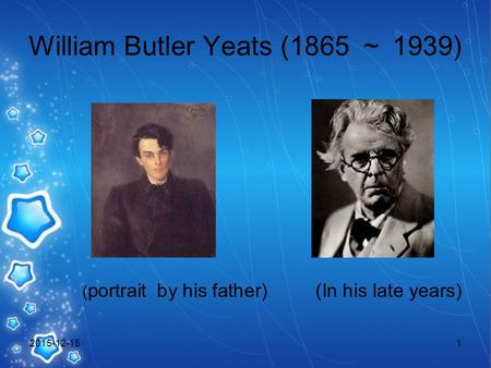 William Butler Yeats (1865 ~ 1939) ( portrait by his father) (In his late years) 2015-12-151.