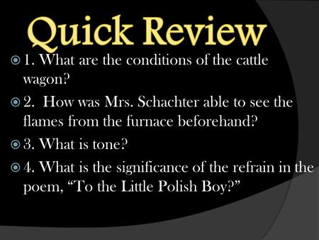  1. What are the conditions of the cattle wagon?  2. How was Mrs. Schachter able to see the flames from the furnace beforehand?  3. What is tone? 