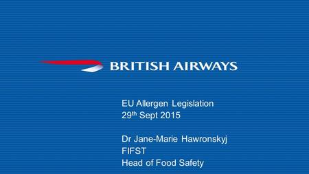 EU Allergen Legislation 29th Sept 2015