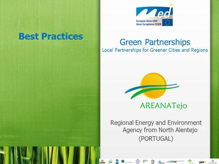 Green Partnerships Local Partnerships for Greener Cities and Regions Best Practices Regional Energy and Environment Agency from North Alentejo (PORTUGAL)