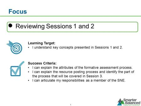 Focus Reviewing Sessions 1 and 2 Learning Target: I understand key concepts presented in Sessions 1 and 2. Success Criteria: I can explain the attributes.