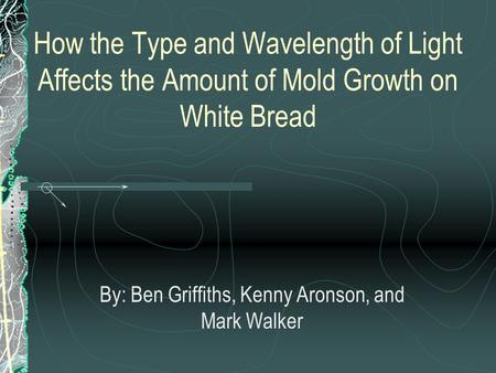 How the Type and Wavelength of Light Affects the Amount of Mold Growth on White Bread By: Ben Griffiths, Kenny Aronson, and Mark Walker.
