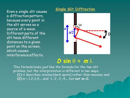 Even a single slit causes a diffraction pattern, because every point in the slit serves as a source of a wave. Different parts of the slit have different.