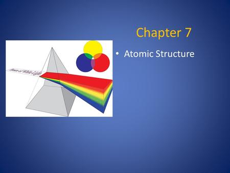 Chapter 7 Atomic Structure. Light  Made up of electromagnetic radiation  Waves of electric and magnetic fields at right angles to each other.