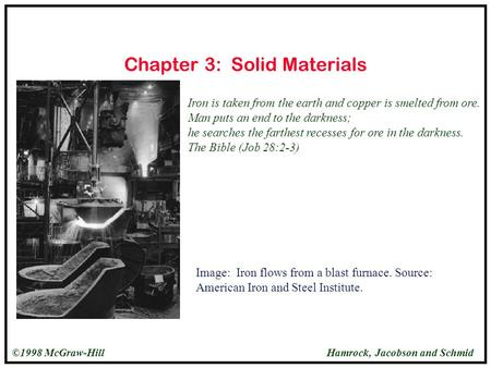 Hamrock, Jacobson and Schmid©1998 McGraw-Hill Chapter 3: Solid Materials Iron is taken from the earth and copper is smelted from ore. Man puts an end to.