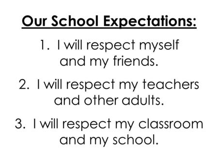 Our School Expectations: 1. I will respect myself and my friends. 2. I will respect my teachers and other adults. 3. I will respect my classroom and my.