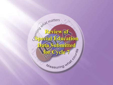 Review of Special Education Data Submitted for Cycle 7 Review of Special Education Data Submitted for Cycle 7.
