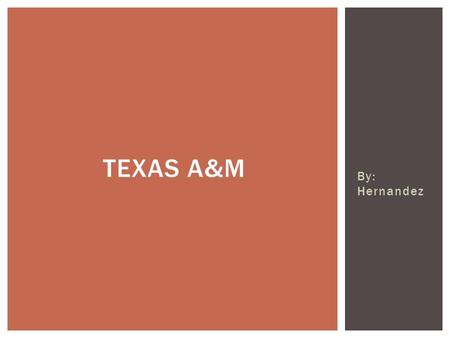 By: Hernandez TEXAS A&M.  Opened in 1876 as Texas' first public institution of higher learning, Texas A&M University is a research-intensive flagship.