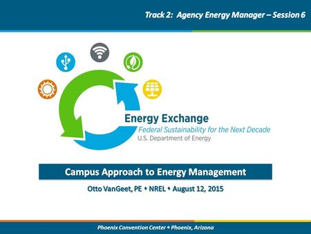 Phoenix Convention Center Phoenix, Arizona. Energy Exchange : Federal Sustainability for the Next Decade Energy Efficiency, then Renewable Energy (EERE)