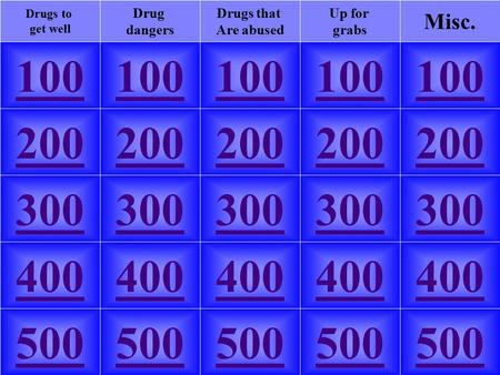 100 Misc. Up for grabs Drug dangers Drugs that Are abused Drugs to get well 100 200 300 400 500 200 300 400 500.
