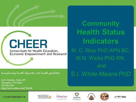 Community Health Status Indicators M. C. Rice PhD APN BC, M.N. Wicks PhD RN, and and S.I. White-Means PhD.