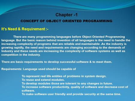 need for object oriented programming pdf