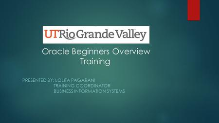 Oracle Beginners Overview Training PRESENTED BY: LOLITA PAGARANI TRAINING COORDINATOR BUSINESS INFORMATION SYSTEMS.