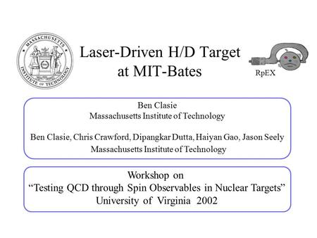 Laser-Driven H/D Target at MIT-Bates Ben Clasie Massachusetts Institute of Technology Ben Clasie, Chris Crawford, Dipangkar Dutta, Haiyan Gao, Jason Seely.