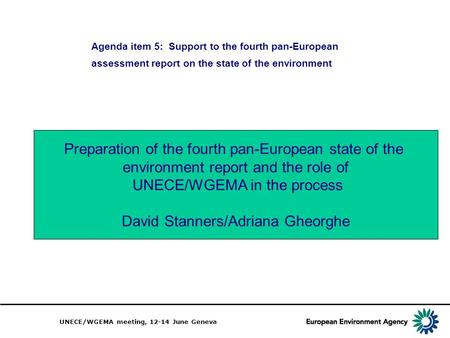 UNECE/WGEMA meeting, 12-14 June Geneva Agenda item 5: Support to the fourth pan-European assessment report on the state of the environment Preparation.