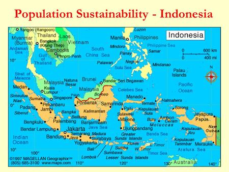 Population Sustainability - Indonesia. Population of Indonesia 237.6 million (2010) The population is expected to reach 254 million by 2020 and 288 million.