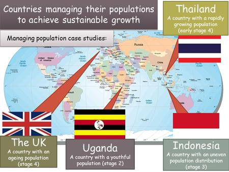 Countries managing their populations to achieve sustainable growth Managing population case studies: Indonesia A country with an uneven population distribution.