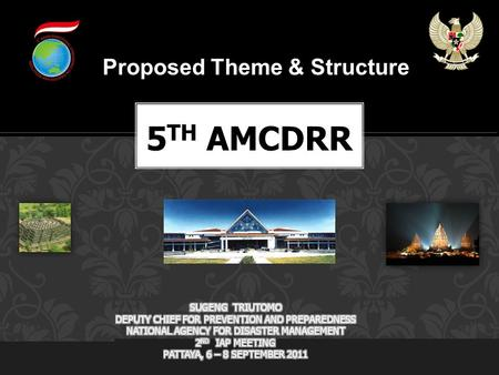 Proposed Theme & Structure. Country:Indonesia Organizer:Government of the Republic of Indonesia Support:National Platform for DRR Indonesia, Yogyakarta.