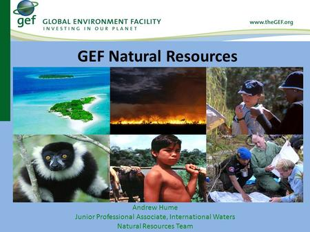 Andrew Hume Junior Professional Associate, International Waters Natural Resources Team GEF Natural Resources.