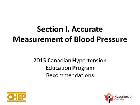 Section I. Accurate Measurement of Blood Pressure