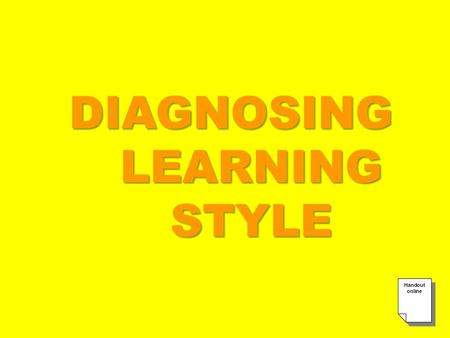 DIAGNOSING LEARNING STYLE. ENVIRONMENTAL PSYCHOLOGICAL SOCIOLOGICAL PHYSICAL COGNITIVE.
