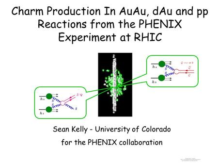 Charm Production In AuAu, dAu and pp Reactions from the PHENIX Experiment at RHIC Sean Kelly - University of Colorado for the PHENIX collaboration.