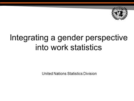 Integrating a gender perspective into work statistics United Nations Statistics Division.