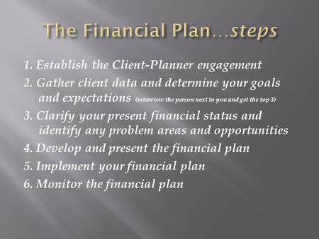 1. Establish the Client-Planner engagement 2. Gather client data and determine your goals and expectations (interview the person next to you and get the.
