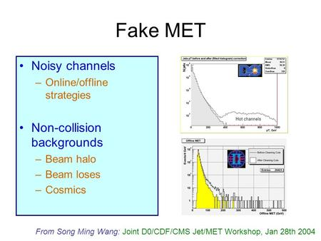Fake MET Noisy channels –Online/offline strategies Non-collision backgrounds –Beam halo –Beam loses –Cosmics Hot channels From Song Ming Wang: Joint D0/CDF/CMS.