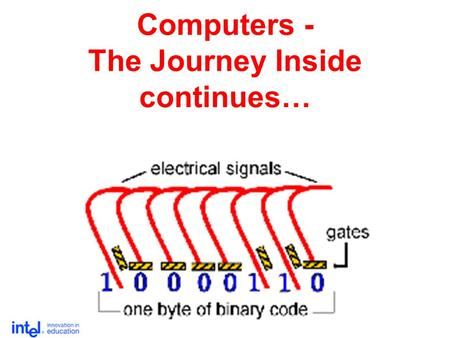 Computers - The Journey Inside continues…. Bit by bit … 1 byte about 1,000 (one thousand) bytes about 1,000,000 (one million) bytes about 1,000,000,000.