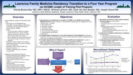 Www.postersession.com Lawrence Family Medicine Residency Transition to a Four Year Program (an ACGME Length of Training Pilot Program) Wendy Brooks Barr.